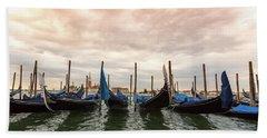 Bath Towel featuring the photograph Gondolas In Venice by Melanie Alexandra Price