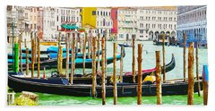 Gondolas On The Grand Canal Venice Italy Hand Towel