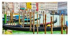 Gondolas On The Grand Canal Venice Italy Bath Towel
