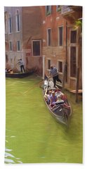 Gondoles In Venice Italy Hand Towel by George Robinson