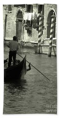 Gondolier In Venice   Bath Towel