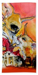 Gone With The Wind Chihuahuas Caricature Art Print Bath Towel