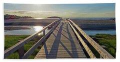 Good Harbor Beach Footbridge Sunny Shadow Bath Towel