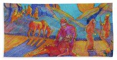 Good Samaritan Parable Painting Bertram Poole Bath Towel by Thomas Bertram POOLE