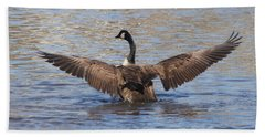 Hand Towel featuring the photograph Goose Flapping Wings-rear View by Wendy Coulson