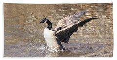 Hand Towel featuring the photograph Goose Flapping Wings by Wendy Coulson