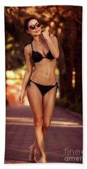 Gorgeous Female On The Beach Bath Towel