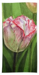Gorgeous Tulip Watercolor Realism  Hand Towel