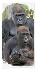 Gorilla Family Portrait Hand Towel