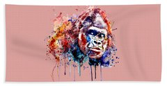 Hand Towel featuring the mixed media Gorilla by Marian Voicu