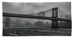 Manhattan Bridge In A Storm Bath Towel