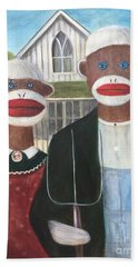 Hand Towel featuring the painting Gothic American Sock Monkeys by Randol Burns