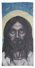 Bath Towel featuring the painting Gothic Jesus by Michael  TMAD Finney