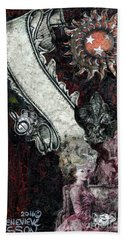Bath Towel featuring the mixed media Gothic Punk Goddess by Genevieve Esson