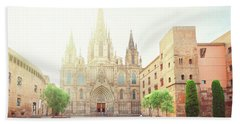 Gotic Cathedral  Of Barcelona Hand Towel