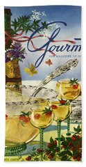 Gourmet Cover Featuring A Bowl And Glasses Bath Towel