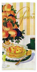 Gourmet Cover Featuring A Centerpiece Of Peaches Hand Towel