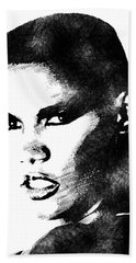 Grace Jones Bw Portrait Hand Towel by Mihaela Pater