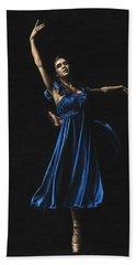 Graceful Dancer In Blue Hand Towel