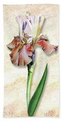 Graceful Watercolor Iris Bath Towel