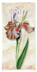 Hand Towel featuring the painting Graceful Watercolor Iris by Irina Sztukowski