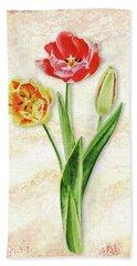 Graceful Watercolor Tulips Hand Towel