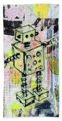 Graffiti Graphic Robot Bath Towel