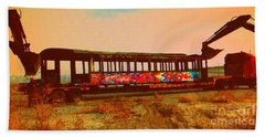 Graffiti Laden Rusted Out Saltair Train Car Scrapped February 18 2012 Hand Towel by Richard W Linford