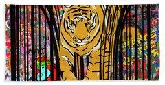 Graffiti Tiger Bath Towel by Sassan Filsoof