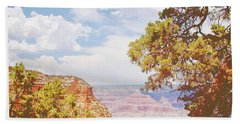 Grand Canyon View With Pine Tree Bath Towel by A Gurmankin