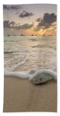 Bath Towel featuring the photograph Grand Cayman Beach Coral Waves At Sunset by Adam Romanowicz