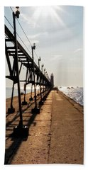 Bath Towel featuring the photograph Grand Haven Pier by Lars Lentz