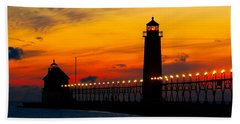 Grand Haven Sunset Bath Towel by Nick Zelinsky