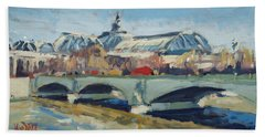 Bath Towel featuring the painting Grand Palace In Winter Paris by Nop Briex