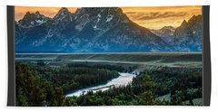 Grand Teton National Park Sunset Poster Bath Towel by Gary Whitton