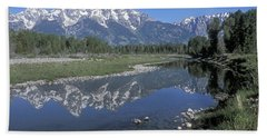 Grand Teton Reflection At Schwabacher Landing Bath Towel