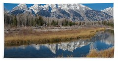 Bath Towel featuring the photograph Grand Tetons by Gary Lengyel