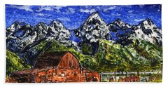 Grand Tetons With Buffalo Hand Towel