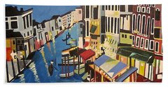 Bath Towel featuring the painting Grande Canal by Donna Blossom