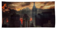 Hand Towel featuring the photograph Grandeur Of The Past - Empire State At Sunset by Miriam Danar