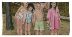 Bath Towel featuring the painting Grandkids On The Beach by Ferrel Cordle
