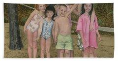 Grandkids On The Beach Bath Towel by Ferrel Cordle