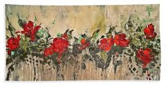 Hand Towel featuring the painting Grandma Roses by AmaS Art