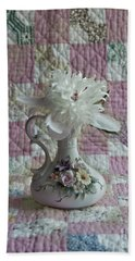 Grandmother's Vase And Her Son's Quilt Hand Towel