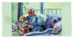 Hand Towel featuring the painting Grandpa Reading by Kathy Braud