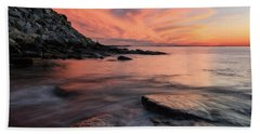 Granite Sunset Rockport Ma. Bath Towel by Michael Hubley