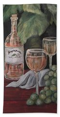 Grape Leaves And Wine Hand Towel