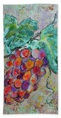 Hand Towel featuring the painting Grape Vine Fiesta by Ella Kaye Dickey