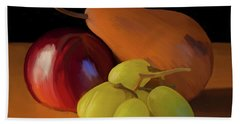 Grapes Plum And Pear 01 Bath Towel by Wally Hampton