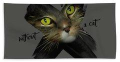 Graphic Art British Shorthair Cat Hand Towel